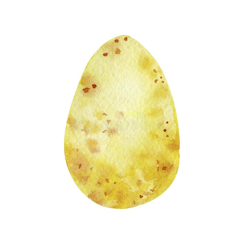 Watercolor yellow easter egg isolated on white background. Illustration for poster, greeting card. Banner stock photography