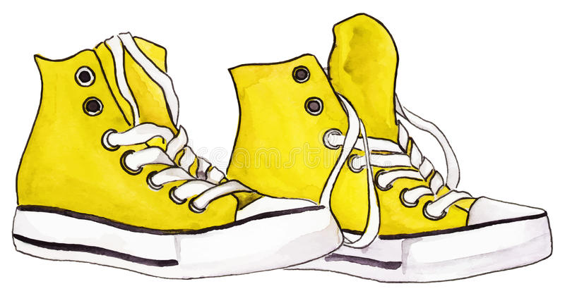 Watercolor yellow lemon sneakers pair shoes isolated vector stock illustration