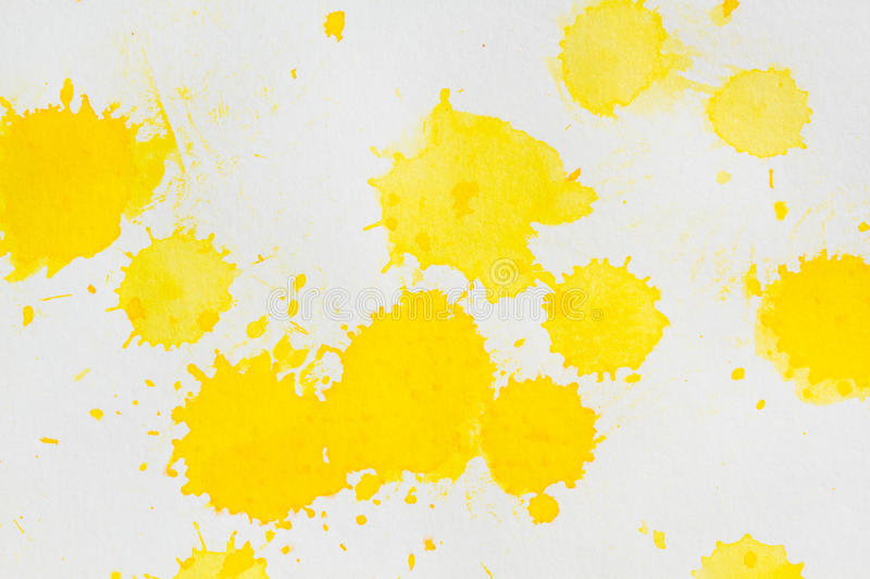 Watercolor yellow splashes abstract stock photos