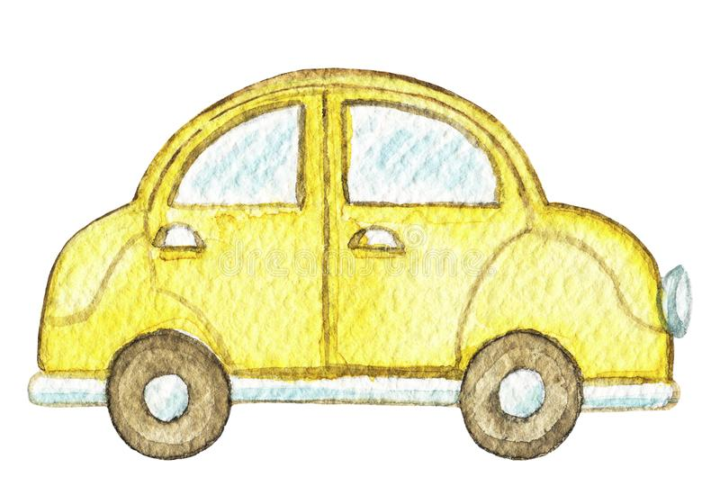 Watercolor yellow vintage car. Yellow retro cartoon car isolated on white background. Watercolor hand painted illustration stock illustration