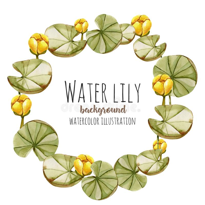 Watercolor Yellow Water Lily Wreath, Greeting Card Template Stock ...