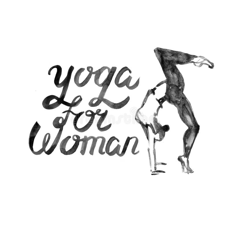 Watercolor yoga illustration. Girl in asana pose. Watercolor yoga illustration. Girl in yoga pose. Illustration with watercolor texture. Logo for yoga class royalty free illustration