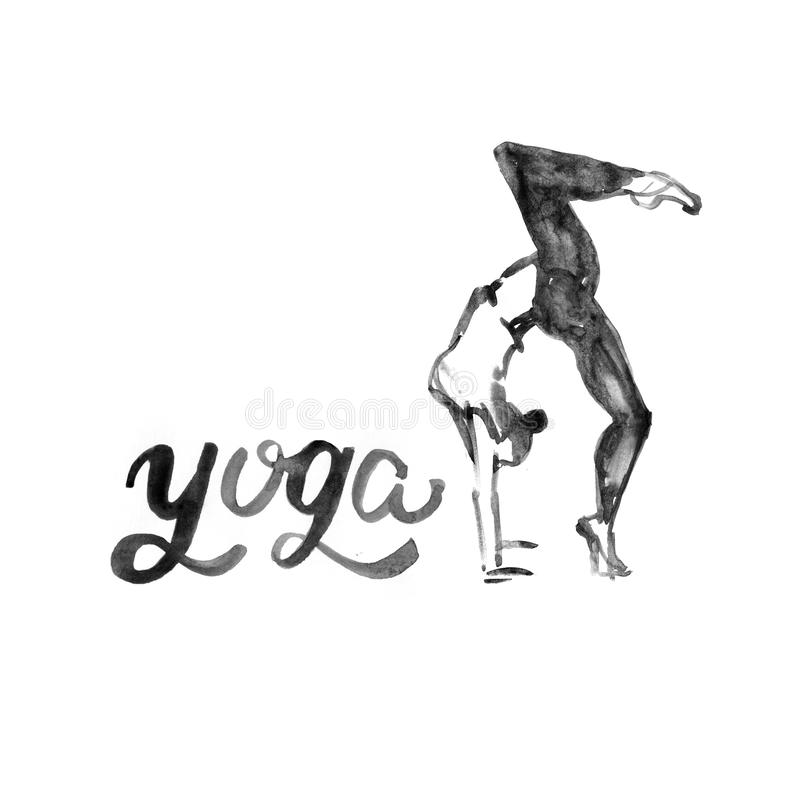 Watercolor yoga illustration. Girl in asana pose. Watercolor yoga illustration. Girl in yoga pose. Illustration with watercolor texture. Logo for yoga class vector illustration