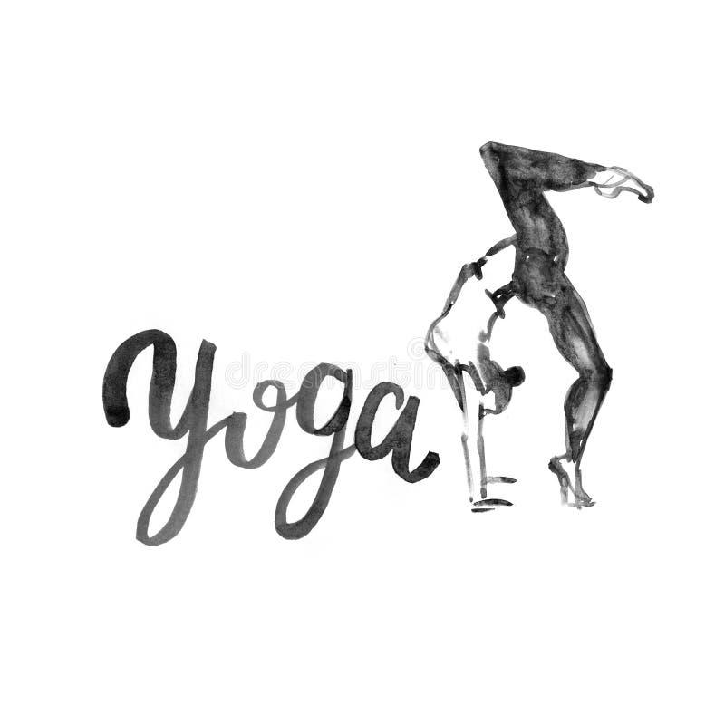 Watercolor yoga illustration. Girl in asana pose. Watercolor yoga illustration. Girl in yoga pose. Illustration with watercolor texture. Logo for yoga class stock illustration