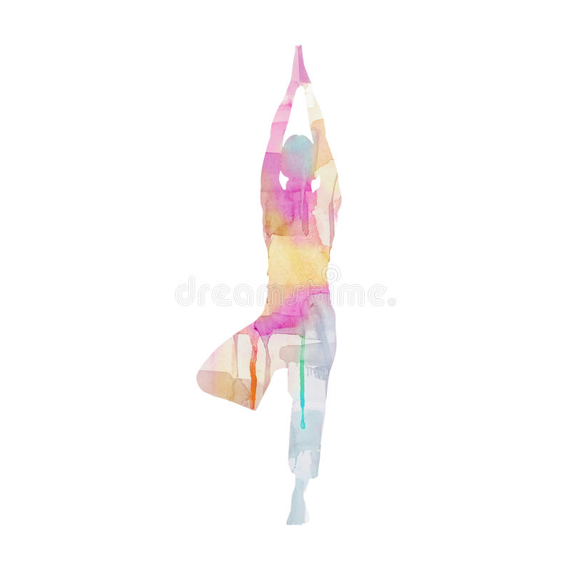 Watercolor Yoga Pose. Colorful Watercolor Yoga Pose. Artwork is my own stock images