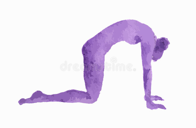 Watercolor yoga pose. Watercolor yoga pose on white background. Asana. Healthy lifestyle and relaxation vector illustration