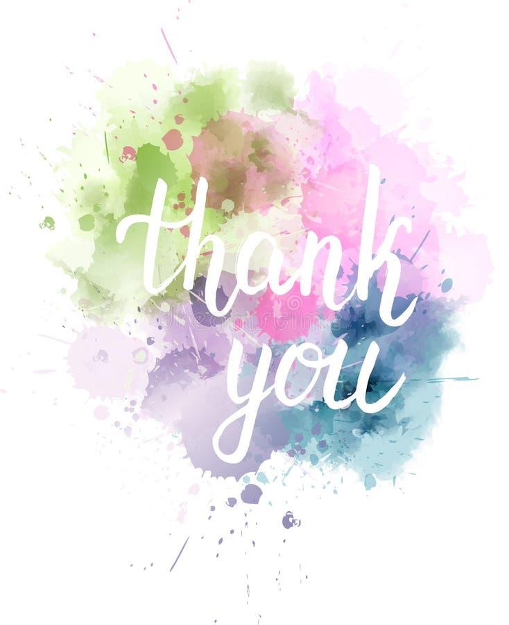 Watercolored-Fleck mit danken Ihnen Mitteilung stock abbildung
