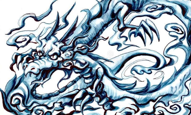 Watercoloredschets van Draak royalty-vrije stock foto's