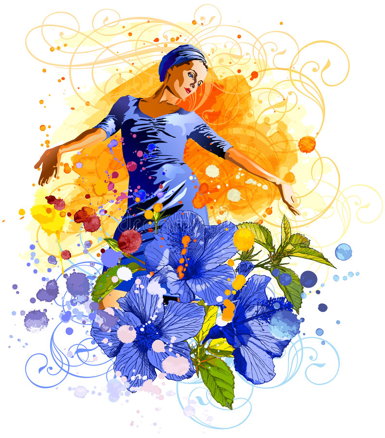 watercolors κοριτσιών λουλουδιώ& απεικόνιση αποθεμάτων