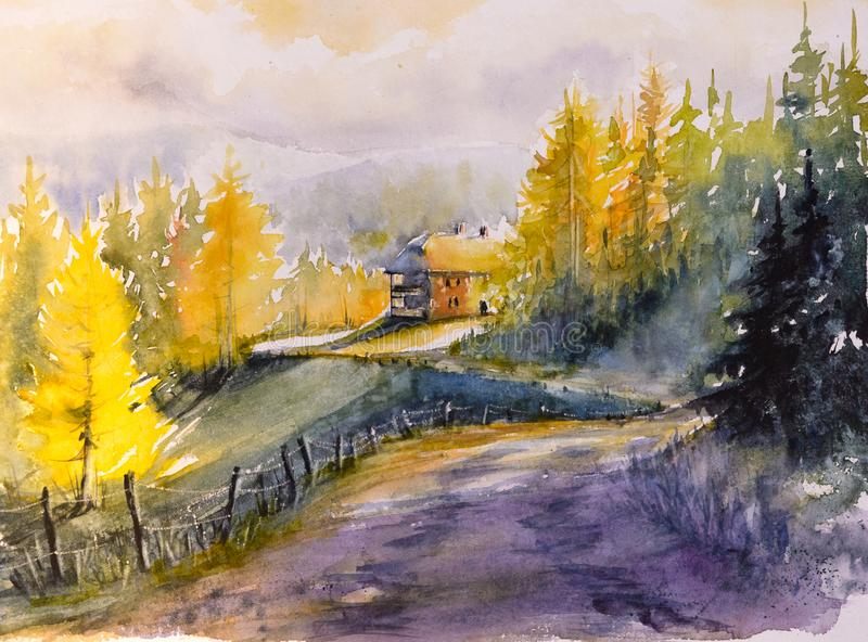 Watercolors τοπίων βουνών φθινοπώρου που χρωματίζονται διανυσματική απεικόνιση