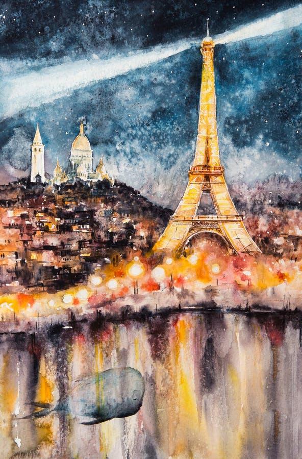 Watercolors του Παρισιού τη νύχτα που χρωματίζονται απεικόνιση αποθεμάτων