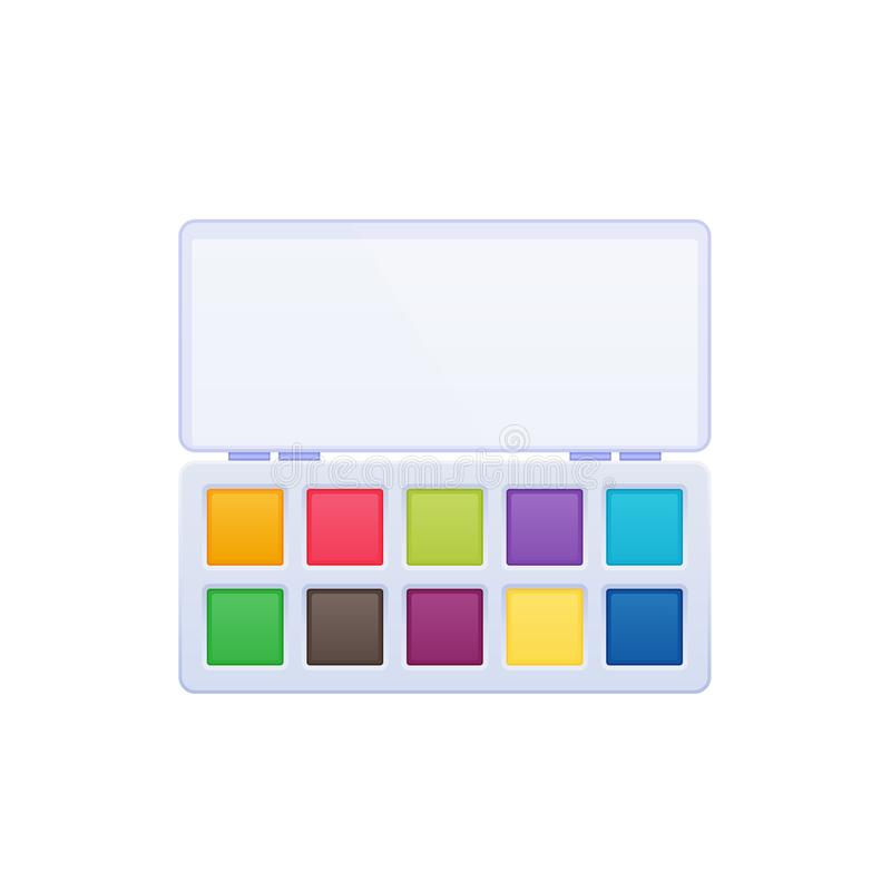 Watercolors with an artistic palette of various color paints. stock illustration