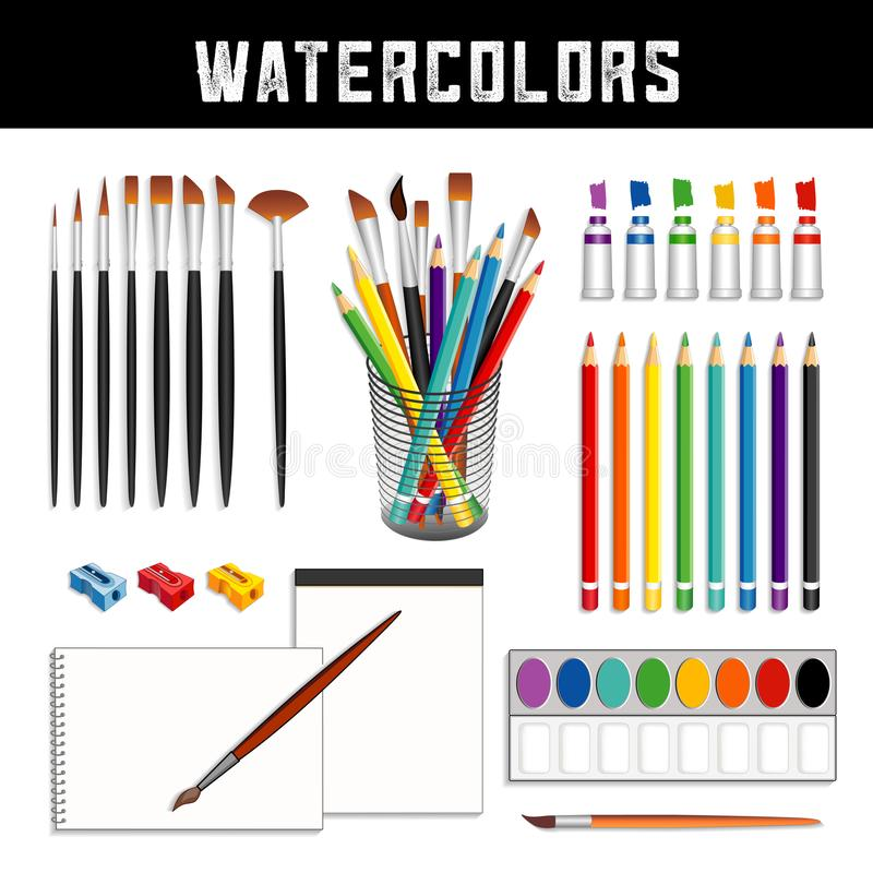 Watercolors, Brushes, Paints, Pencils, Paper, Field Box royalty free illustration