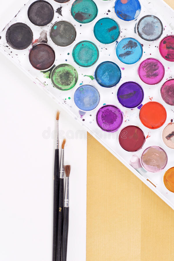 Download Watercolors and Paintbrush stock image. Image of lessons - 19886687