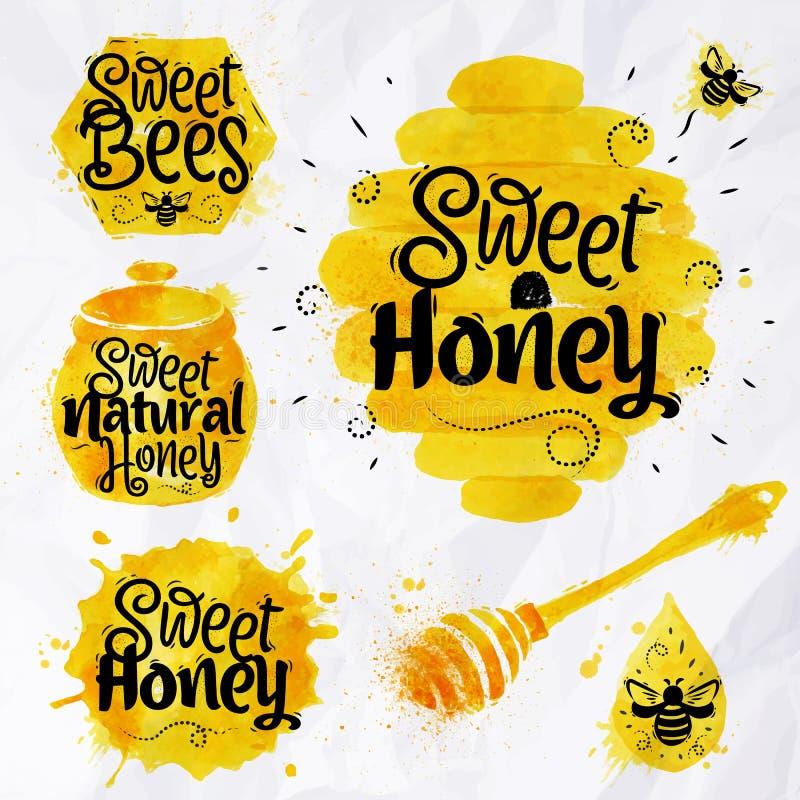 Watercolors symbols honey vector illustration