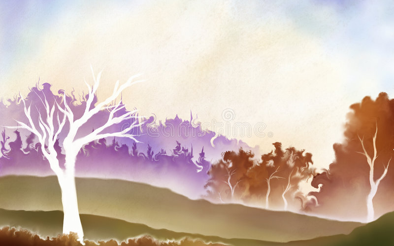 Download Watercolorscape stock illustration. Illustration of landscape - 8156511