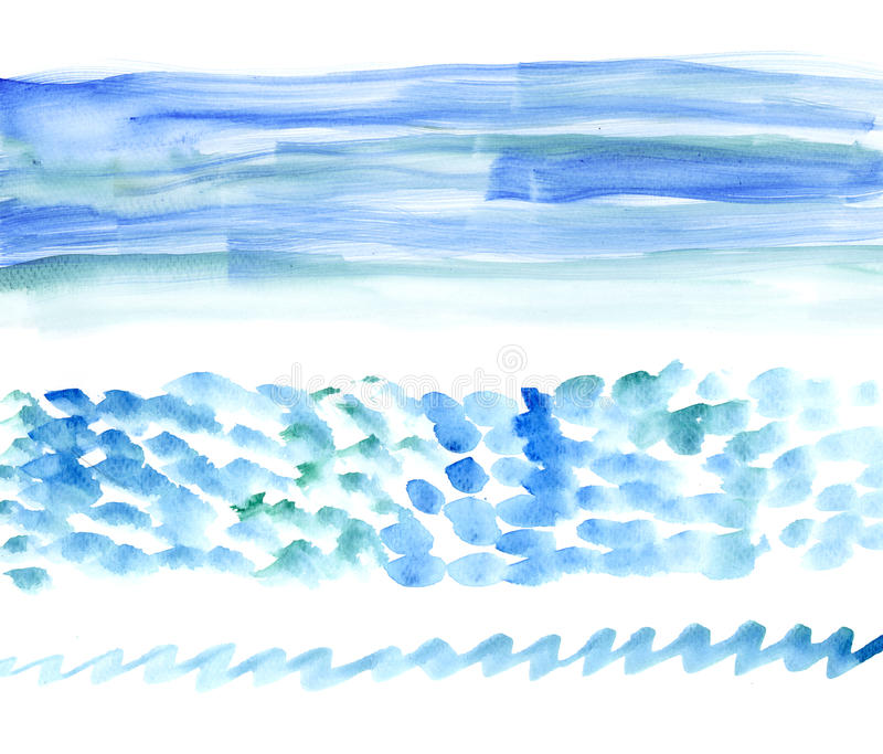 Watercolour моря Bunners Стоковые Изображения RF