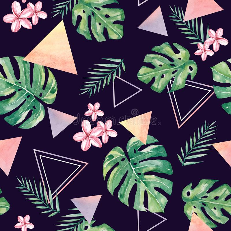 Watercolour abstract tropical summer pattern. FLoral and geometry shapes composition for the textile fabric, paper, wallpaper, pos royalty free illustration