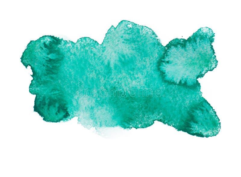 Watercolour abstracto colorido azulverde del drenaje de la mano fotografía de archivo libre de regalías