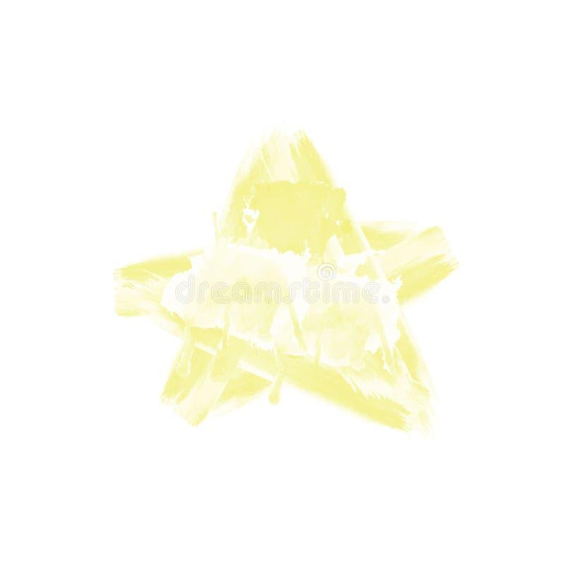 Watercolour amarelo eps tirado mão 10 da estrela fotografia de stock
