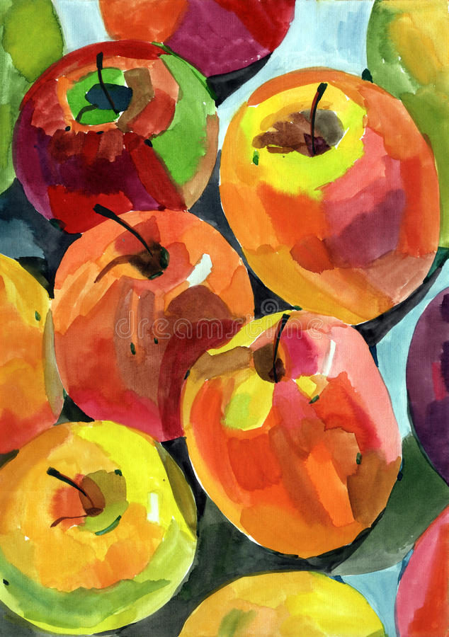 Watercolour apples stock images