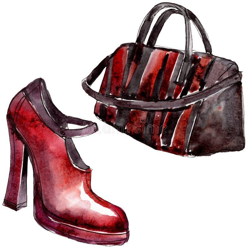 Иллюстрация очарования эскиза сумки и ботинка в элементе акварели изолированном стилем Набор предпосылки Watercolour бесплатная иллюстрация