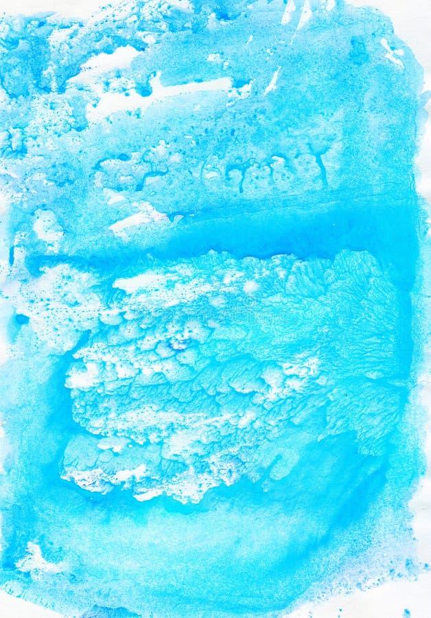 Watercolour błękitnego delikatnego miękkiego abstrakta mokry rysunkowy tło ilustracji