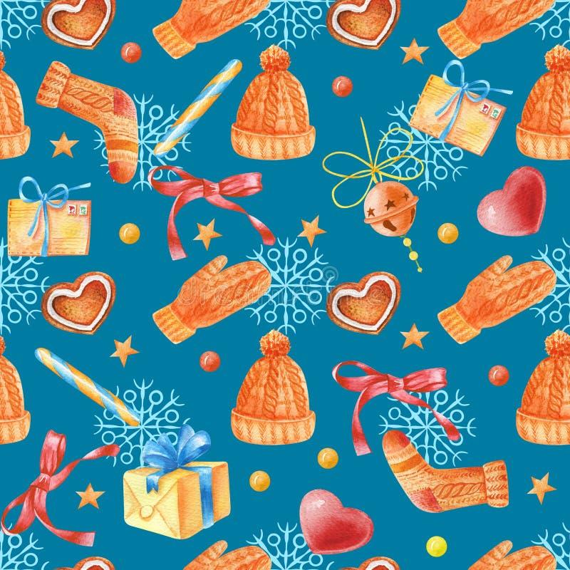 Watercolour bezszwowy wzór z rocznika listem, sercem, cukierkiem, gwiazdami, prezentem, dźwięczenie dzwonem i płatek śniegu, ilustracja wektor