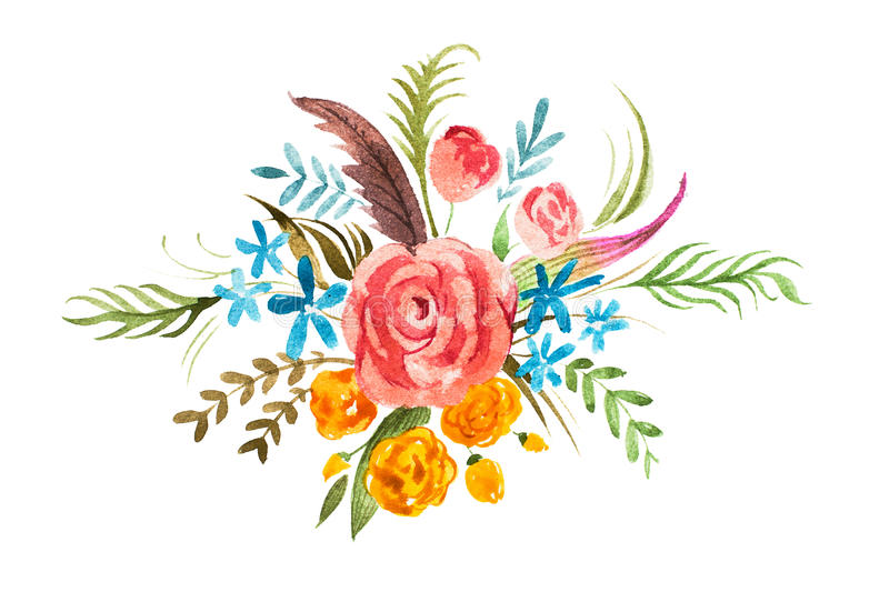 Watercolour bouquet of flowers. Hand-painted decoration element with roses, forget-me-nots, globe-flowers and leaves vector illustration