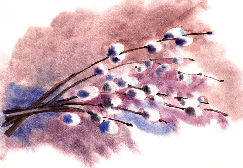 Painting flowers royalty free illustration