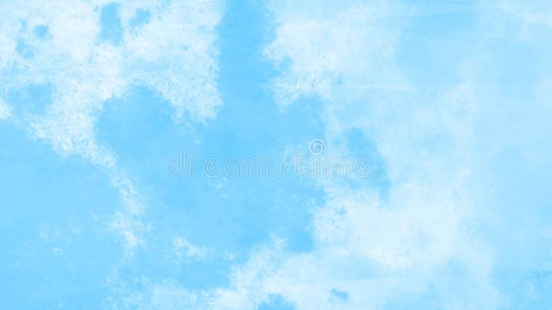 Watercolour bright blue sky background texture with fluffy clouds a summer day. Created by the photographer stock illustration