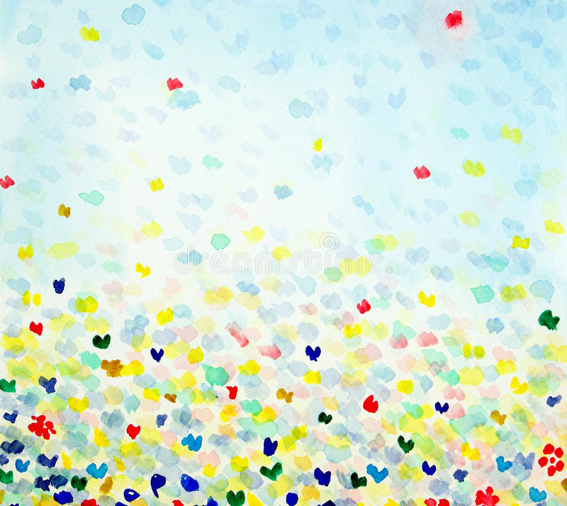 Watercolour with butterflies. A vivid watercolour showing the flight of hundred of butterflies stock images