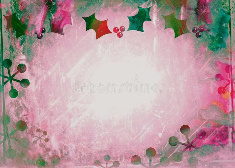 Watercolour Christmas Holly Paper stock illustration