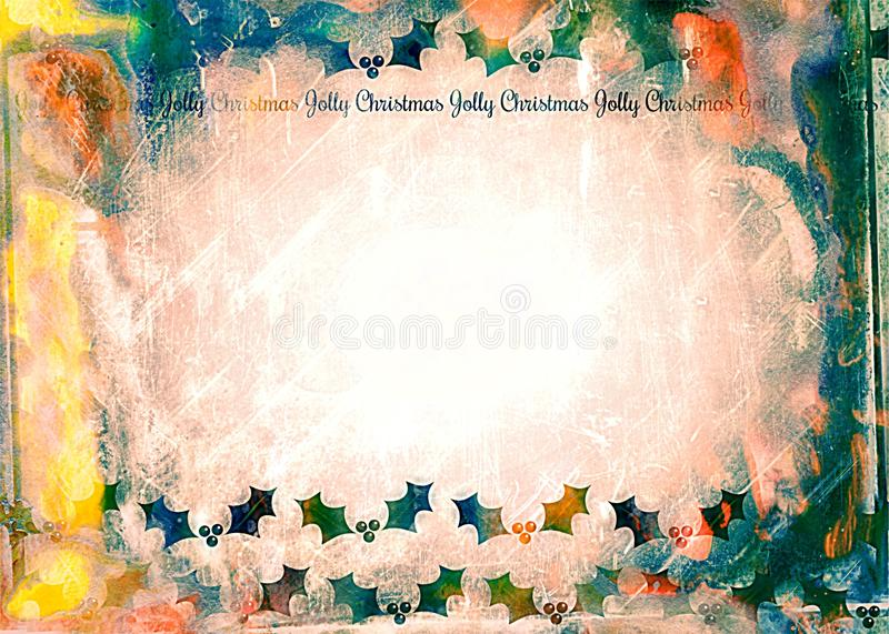 Watercolour Christmas Holly Paper royalty free illustration