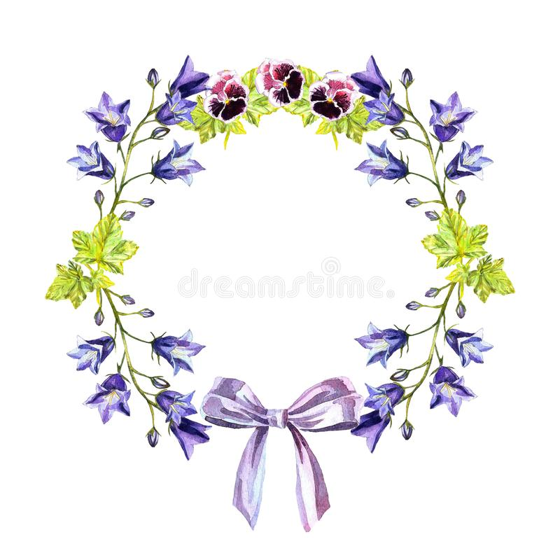 Watercolour circle frame of bluebells, leaves, purple violets and bow of light-purple ribbon stock illustration