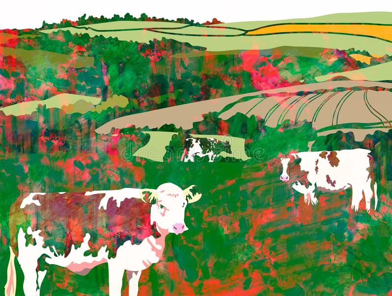 Watercolour Cows Grazing royalty free illustration