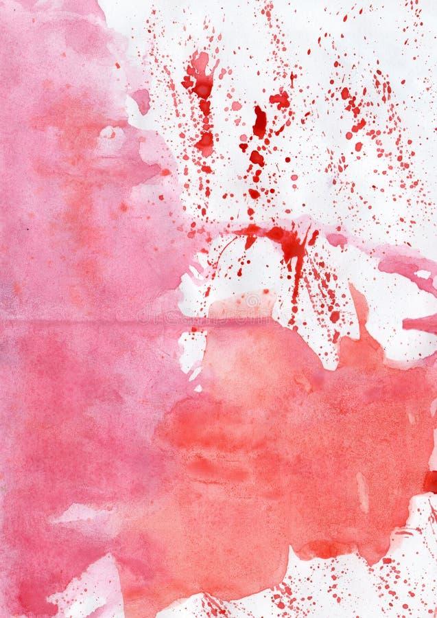 Watercolour czerwieni mokrego obrazu abstrakt starzejący się handmade obraz im royalty ilustracja