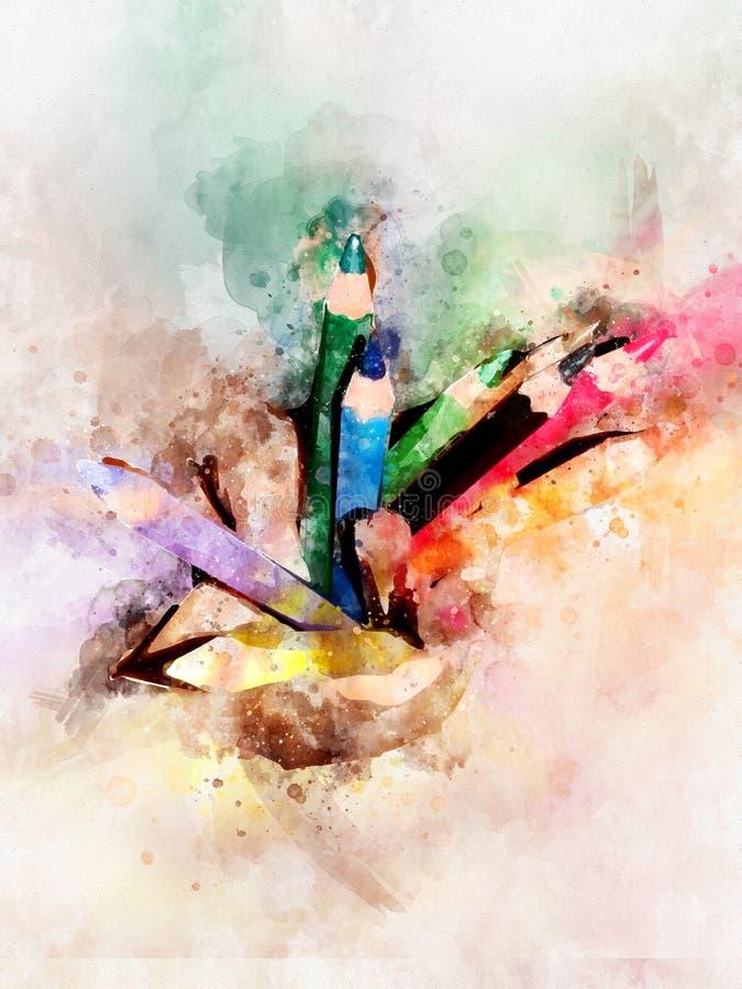 Watercolour de los lápices coloridos del color - de nuevo a concepto de la escuela stock de ilustración