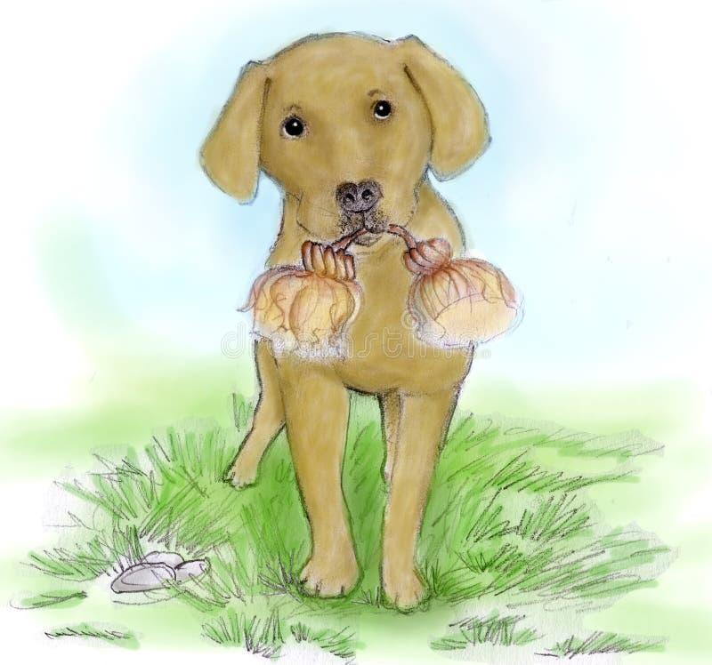 Watercolour di abbozzo del cane illustrazione vettoriale