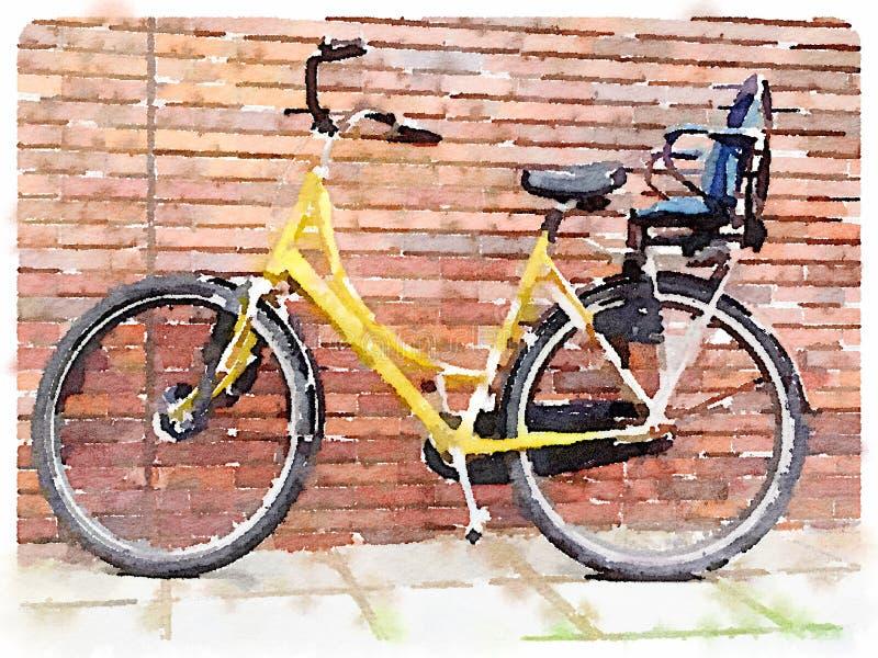 Watercolour digital de la bicicleta amarilla stock de ilustración