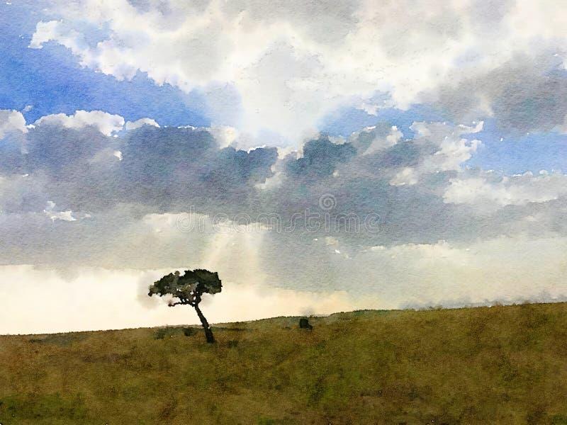 Watercolour digital del árbol solitario libre illustration