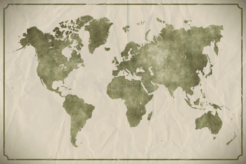 Watercolour do mapa do mundo ilustração royalty free