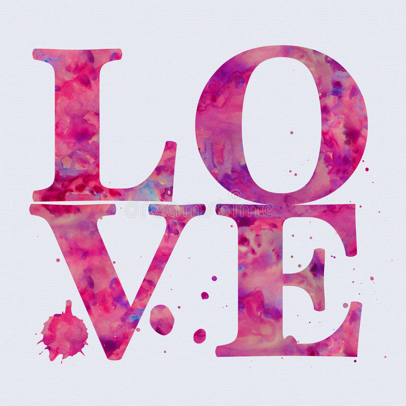 Watercolour effect Love text. With splattered ink effect on a white background, perfect as a card or wall art royalty free illustration