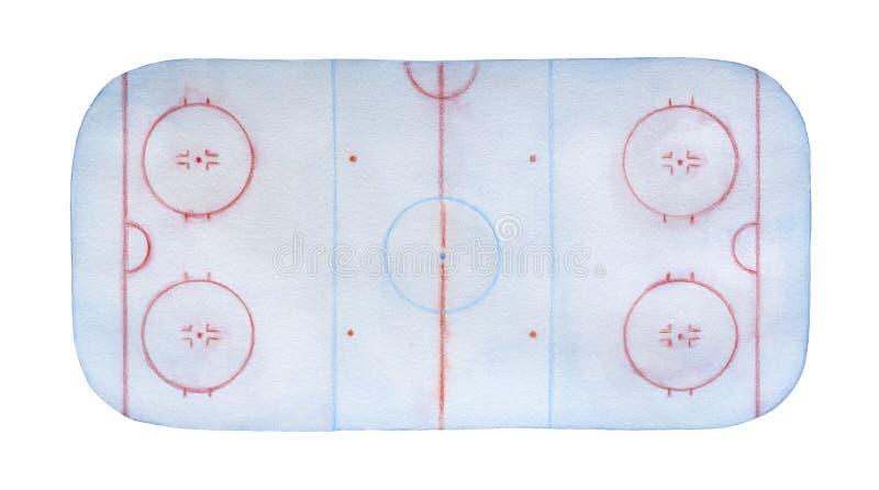 Watercolour escarchado de la pista de hockey sobre hielo con las líneas, las marcas, los círculos, las zonas y las posiciones imagenes de archivo