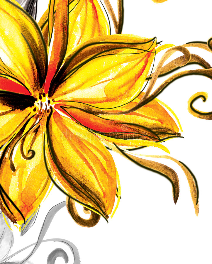 Download Watercolour  flower stock illustration. Image of magenta - 7171957