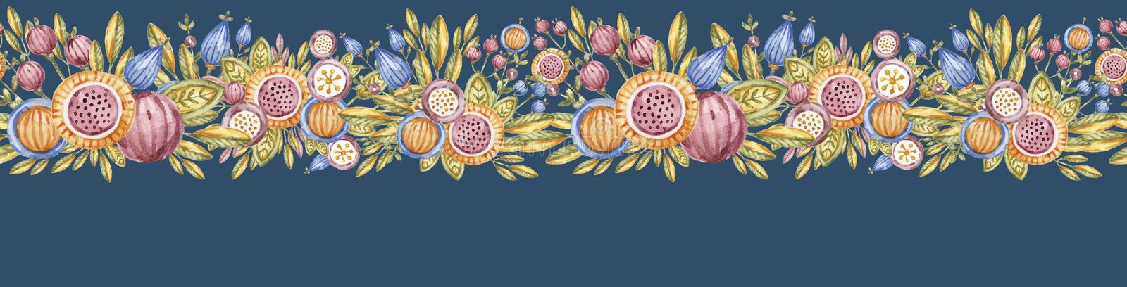Watercolour flower endless banner isolated on blue. Watercolour flower wide endless banner isolated on blue background. Aquarelle floral seamless poster, hand royalty free illustration