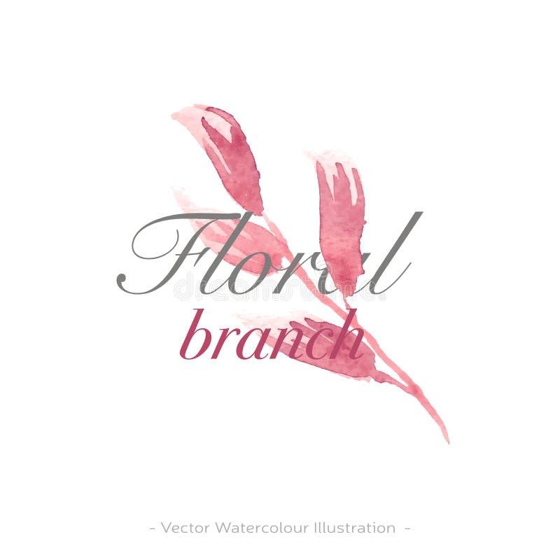 Watercolour flower logo in retro style. Beauty style wallpaper. Design concept sign. Beauty elegant style. Elegant decoration. vector illustration