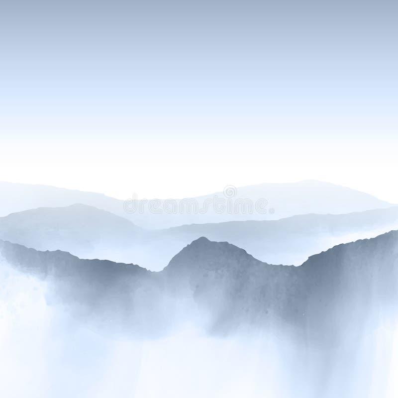 Watercolour góry krajobraz ilustracja wektor