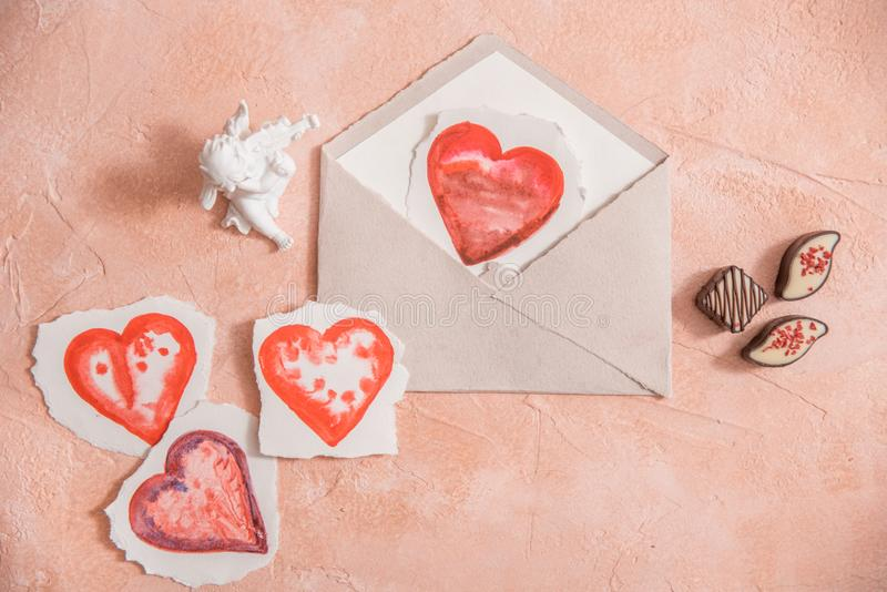 Watercolour heart isolated on white background on a pink background. Valentine day concept stock image