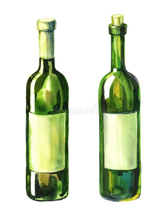 Watercolour illustration of 2 wine bottles vector illustration